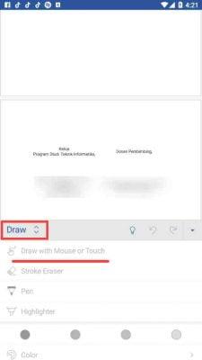 menulis tanda tangan sendiri langsung di word android