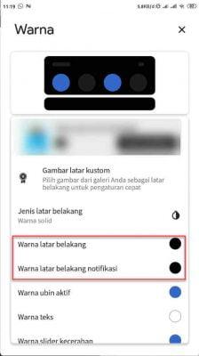 menu warna latar belakang notifikasi power shade