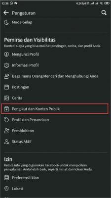 pilih menu pengikut dan konten publik