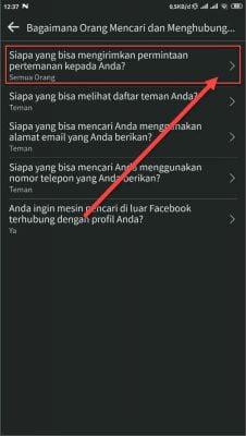 pilih menu siapa yang dapat meminta pertemanan di facebook anda