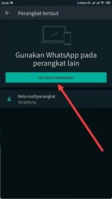 pilih tombol tautkan perangkat WhatsApp