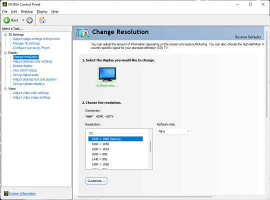 setting resolusi monitor sampai maksimal hz