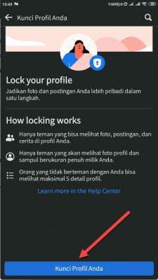 tekan tombol kunci profil anda