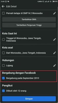 centang tombol bergabung dengan facebook