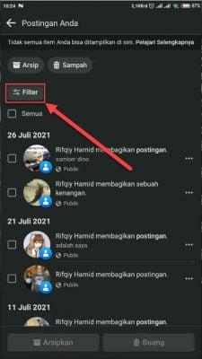 filter postingan facebook