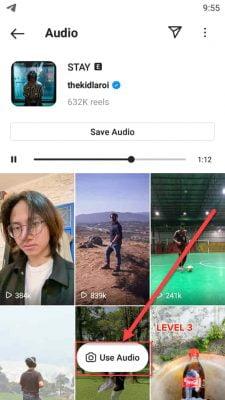 gunakan musik dengan memilih tombol use audio