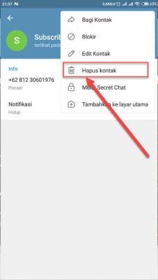 hapus kontak telegram di aplikasi