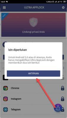 masuk ke perizinan aplikasi ultra app lock
