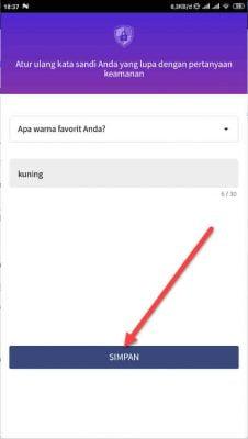 masukan jawaban peratanyaan reset password app lock