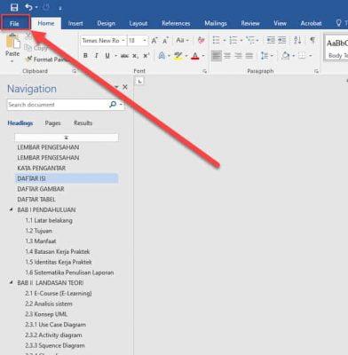 menu file word