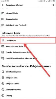 pilih log aktivitas facebook