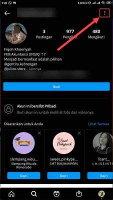 pilih menu 3 titik di profil orang lain