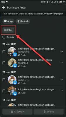 tombol filter log aktivitas