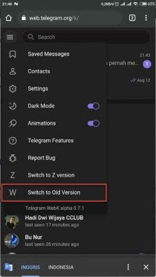 ubah telegram ke versi lama