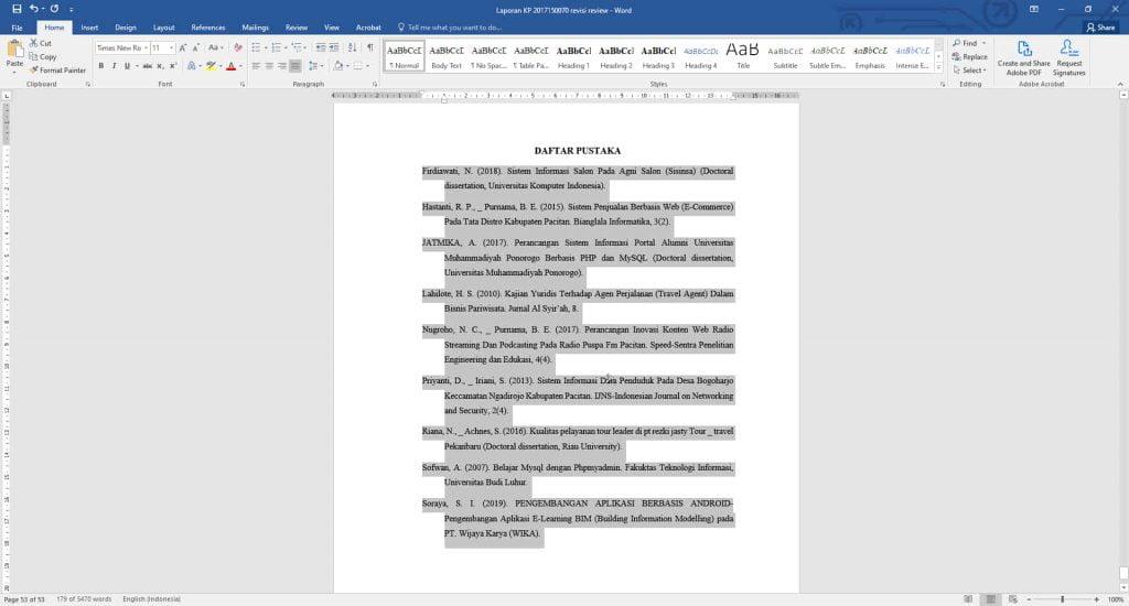 cara mengurutkan daftar pustaka di microsoft word
