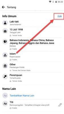 edit info umum facebook