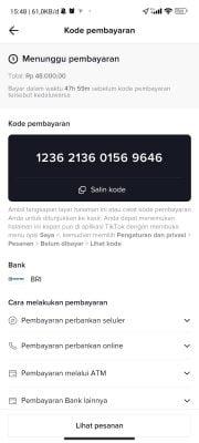 kode pembayaran live tiktok