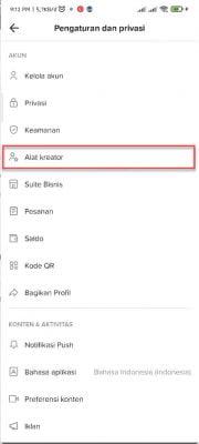 pilih menu alat kreator