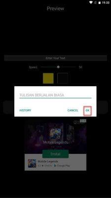 tekan tombol oke agar text berjalan aktif